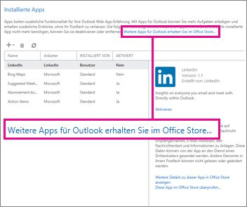 Weitere Apps im Office Store suchen