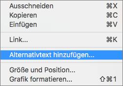 Kontextmenü beim Hinzufügen von Alternativtext zu einem Bild in Outlook.