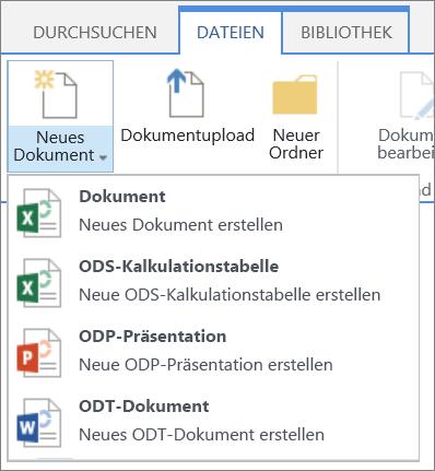 """Befehl """"Neues Dokument"""" in einer Bibliothek mit benutzerdefinierten Vorlagen"""