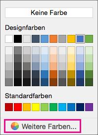 """Schattierungsfarboptionen mit hervorgehobener Option """"Weitere Farben""""."""