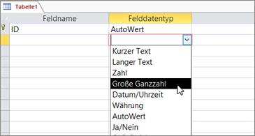 """Liste """"Datentyp"""" mit hervorgehobenem """"Große Ganzzahl"""""""