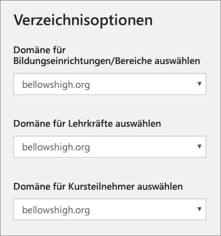 Screenshot der Domänenauswahl für Schulen/Abschnitte, Lehrkräfte und Schüler/Studenten in School Data Sync