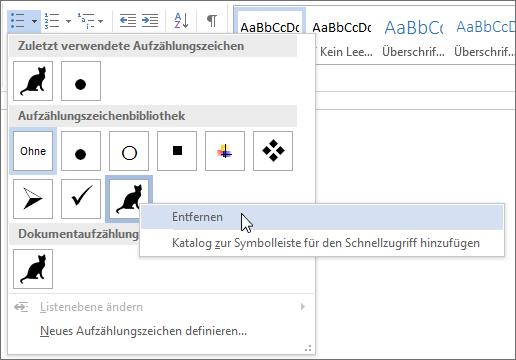 Entfernen eines Aufzählungszeichenformats aus der Aufzählungszeichenbibliothek