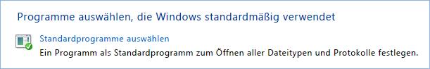Screenshot der Einrichtung von Standardprogrammen