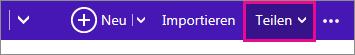 """Outlook.com – auf """"Freigeben"""" klicken, um einen Kalender auszuwählen"""