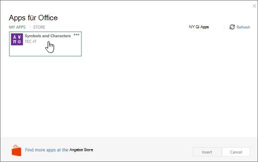 Screenshot zeigt die Registerkarte Meine Apps der Seite Apps für Office.