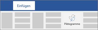 Option zum Einfügen von Piktogrammen im Menüband