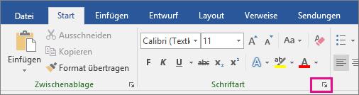 """Auf der Registerkarte """"Start"""" ist der Pfeil zum Öffnen des Dialogfelds """"Schriftart"""" hervorgehoben."""