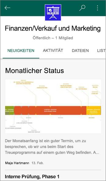 """Screenshot der Registerkarte """"News"""" auf einer Teamwebsite"""