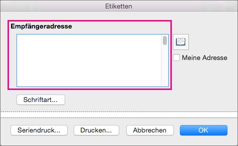"""Beim Drucken von Etiketten werden die Informationen in """"Empfängeradresse"""" auf jedem Etikett platziert."""