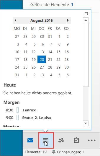 Kalenderpopup mit angezeigtem Kalender-Symbol