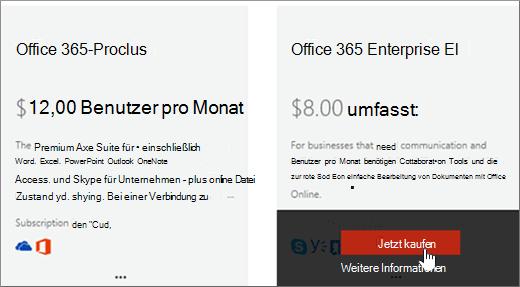 """Link """"Jetzt kaufen"""" auf der Seite """"Dienste kaufen"""" des Office 365 Admin Centers"""