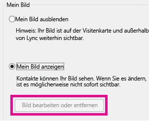 """Screenshot des oberen Abschnitts von """"Festlegen von Optionen für """"Mein Bild"""""""" mit grau dargestellter Schaltfläche """"Bild bearbeiten oder entfernen"""""""