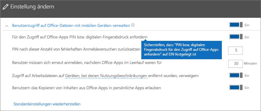 """Sorgen Sie dafür, dass """"PIN oder Fingerabdruck für den Zugriff auf Office-Apps erforderlich"""" auf """"Ein"""" festgelegt ist."""