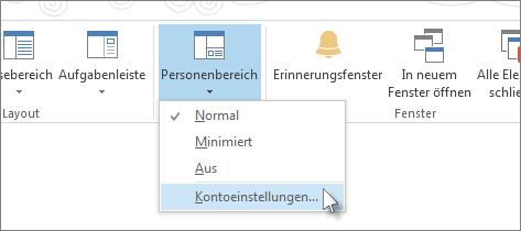 Auf der Registerkarte 'Ansicht' auf 'Personenbereich' und dann auf 'Kontoeinstellungen' klicken