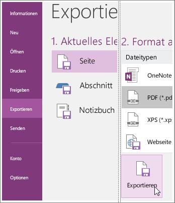 Screenshot zum Exportieren einer Notizenseite in OneNote2016