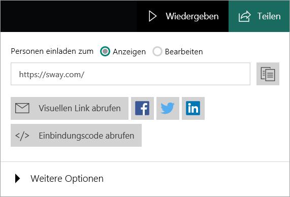 Sway-Menü vom Microsoft-Konto