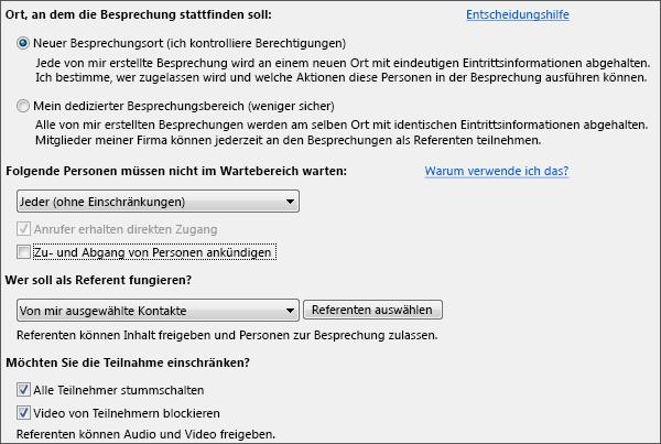 Bildschirmfoto von Besprechungsoptionen mit Optionenauswahl für ein großes Publikum