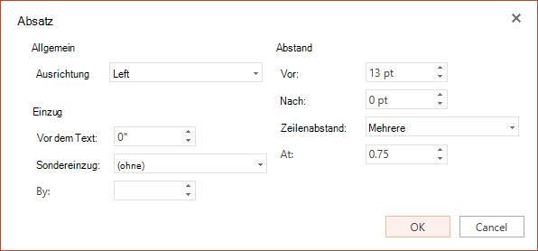Das Dialogfeld Absatz enthält Optionen für die Einstellung horizontale Ausrichtung, Einzug auf der linken Seitenrand und der Zeilen-und Absatzabstand.