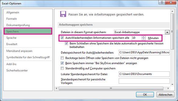 Option 'Speichern' unter 'Excel-Optionen'