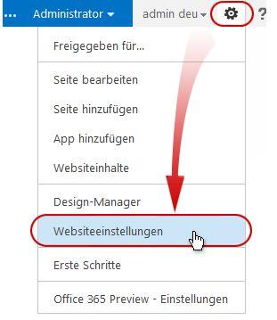 Befehl 'Websiteeinstellungen' im Menü 'Websiteaktionen'