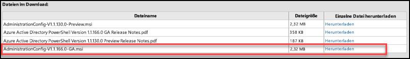 Screenshot mit dem Namen der Datei zum Herunterladen des Azure Active Directory-Moduls für Windows PowerShell