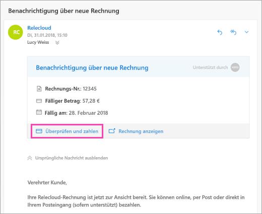 Ein Screenshot der überprüfen und bezahlen
