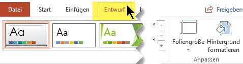 """Wählen Sie in der Symbolleiste des Menübands die Registerkarte """"Entwurf"""" aus. Die Menüschaltfläche """"Foliengröße"""" am rechten Ende verfügt über den Schieberegler für die Ausrichtung."""