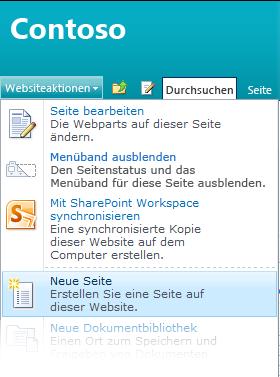 Option 'Neue Seite' im Menü 'Websiteaktionen'