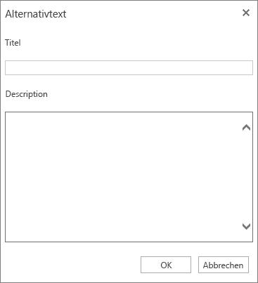 """Screenshot des Dialogfelds """"Alternativtext"""" mit den Feldern """"Titel"""" und """"Beschreibung"""""""