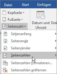 """Wählen Sie in der Gruppe """"Kopf- und Fußzeile"""" die Option """"Seitenzahl"""" und dann """"Aktuelle Position"""" aus."""