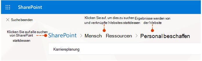 Screenshot, woher die Ergebnisse stammen und alternativen stellen suchen