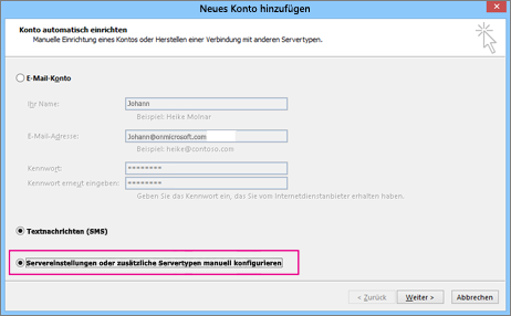 """Wählen Sie """"Servereinstellungen oder zusätzliche Servertypen manuell konfigurieren"""" aus."""