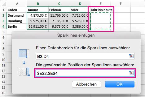 Einen Zielspeicherort für Sparklines auswählen