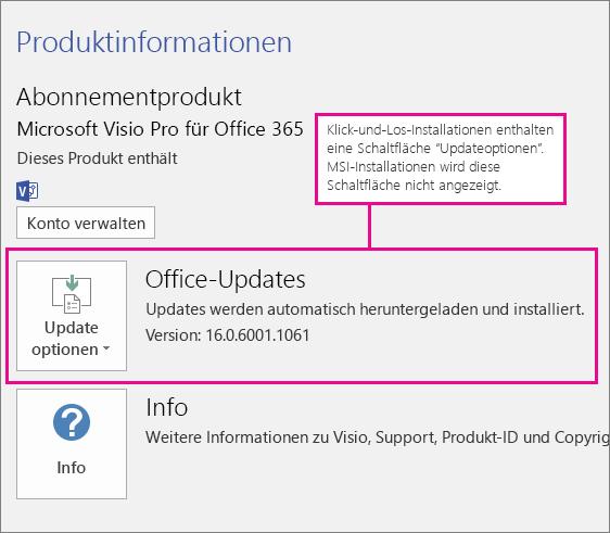 """Bei Klick-und-Los-Installationen finden Sie auf der Seite """"Konto"""" eine Schaltfläche """"Updateoptionen"""". Bei MSI-basierten Installationen wird diese Schaltfläche nicht angezeigt,"""