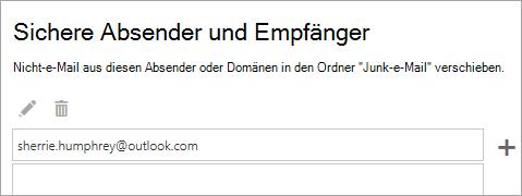 """Screenshot des Felds """"sichere Absender und Empfänger"""""""