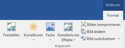 """Die Schaltfläche """"Hintergrund entfernen"""" auf der Registerkarte """"Format"""" unter """"Bildtools"""" im Menüband in Office 2016"""