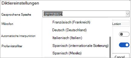 Sprachen, in denen Sie diktieren könnten