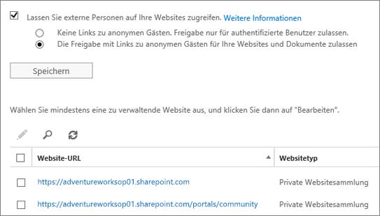 """Dialogfeld-Bildschirm """"Externe Freigabe"""""""