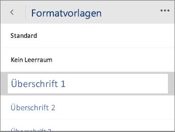 """Screenshot des Menüs """"Formatvorlagen"""" in Word Mobile mit ausgewählter Option """"Überschrift 1"""""""