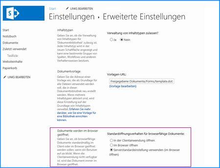 Screenshot der Seite 'Erweiterte Einstellungen' für eine Dokumentbibliothek in SharePoint.