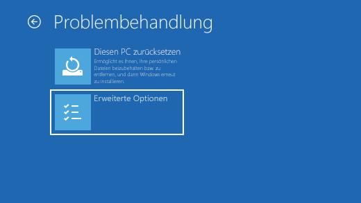 """Bildschirm """"Problembehandlung"""" in der Windows-Wiederherstellungsumgebung."""