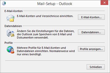"""Outlook-Dialogfeld """"E-Mail-Setup"""", das über die E-Mail-Einstellungen in der Systemsteuerung aufgerufen wird"""