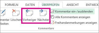 Klicken Sie auf der Registerkarte 'Überprüfen' auf 'Weiter' oder 'Vorheriger'