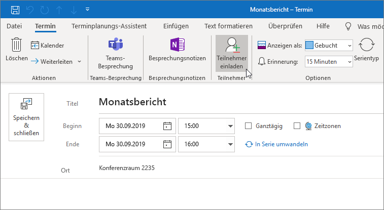 Planen eines Termins in Outlook