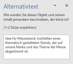 """Bereich """"Alternativtext"""" für Form"""