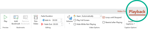 Registerkarte ' Wiedergabe der Video Tools ' im PowerPoint 2016-Menüband