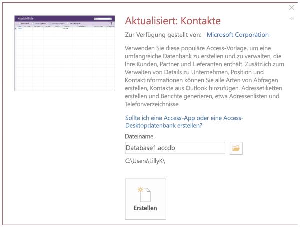 Screenshot der Benutzeroberfläche für Kontaktliste