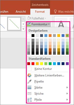 Abbildung von Farboptionen für Linien in Office
