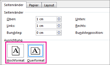 Die Schaltflächen 'Hochformat' und 'Querformat' im Dialogfeld 'Seite einrichten'